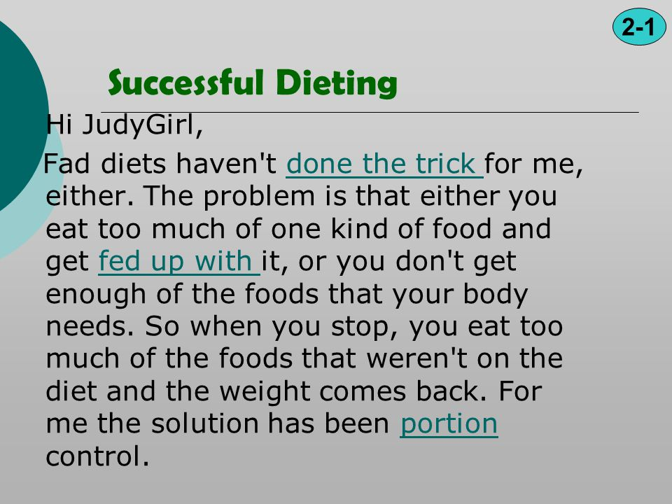 Successful Dieting Hi JudyGirl,
