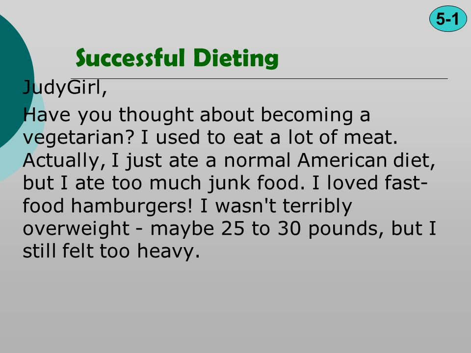 Successful Dieting JudyGirl,
