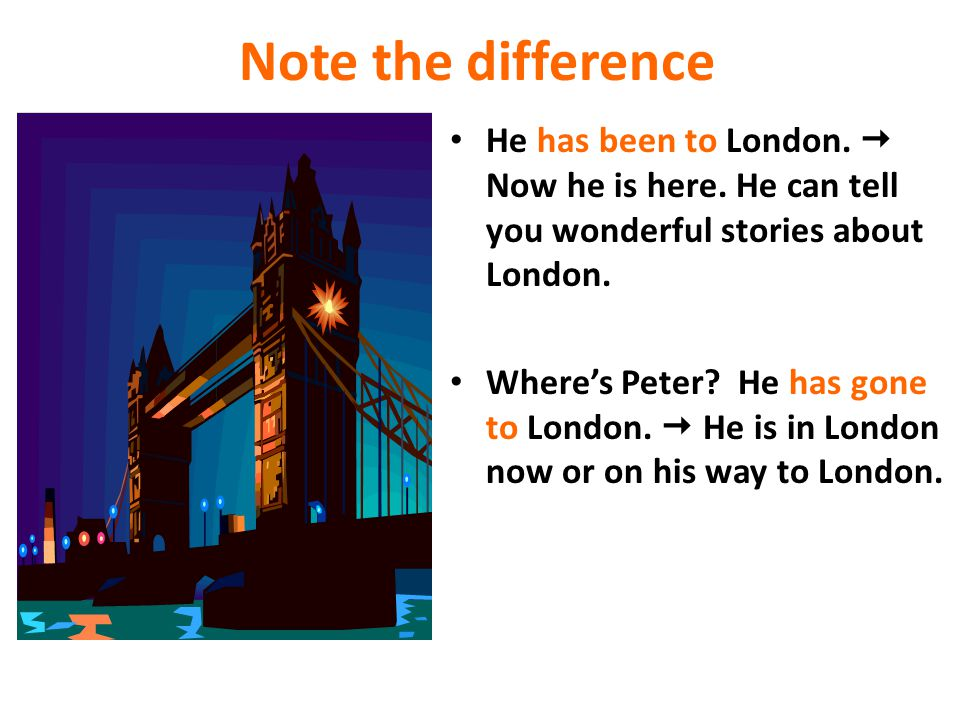 Note the difference He has been to London.  Now he is here. He can tell you wonderful stories about London.