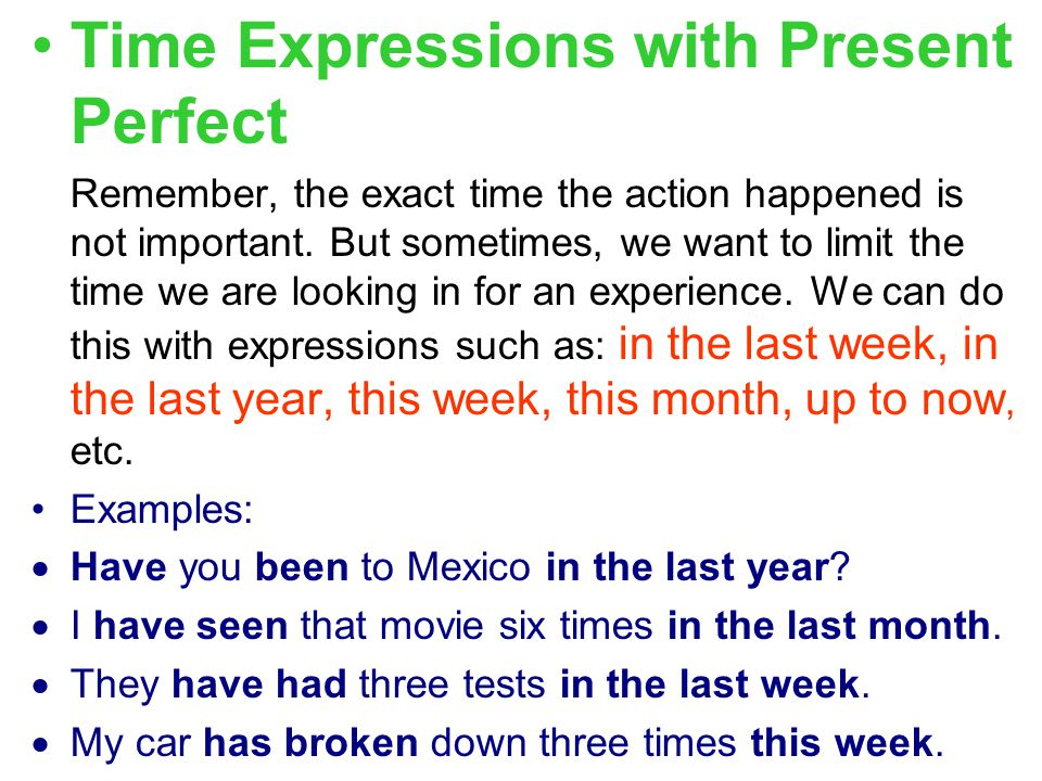 Time Expressions with Present Perfect