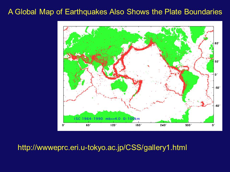 A Global Map of Earthquakes Also Shows the Plate Boundaries