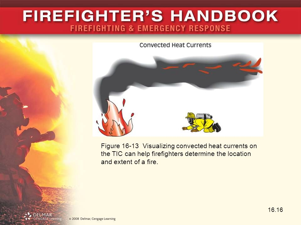 Figure 16-13 Visualizing convected heat currents on the TIC can help firefighters determine the location and extent of a fire.