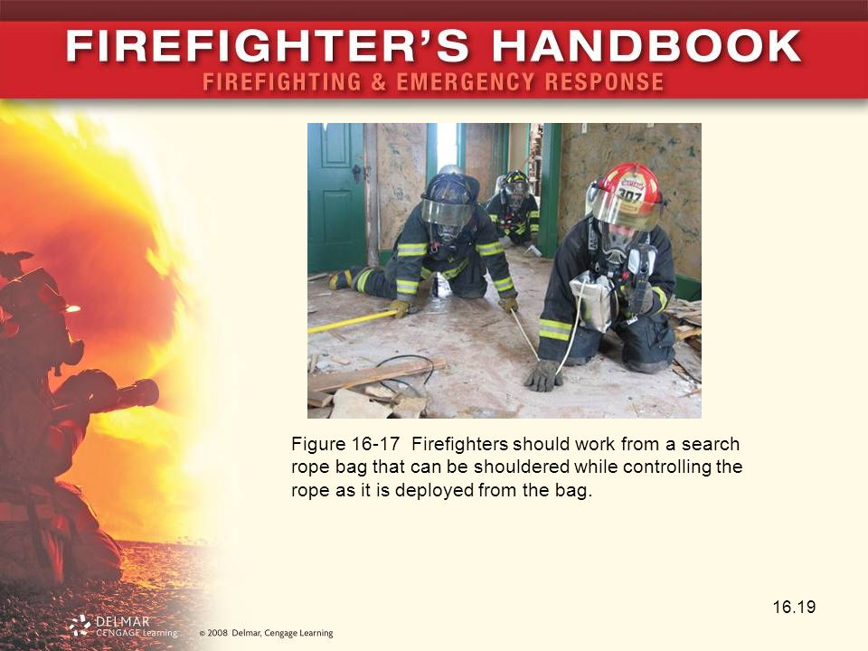 Figure 16-17 Firefighters should work from a search rope bag that can be shouldered while controlling the rope as it is deployed from the bag.
