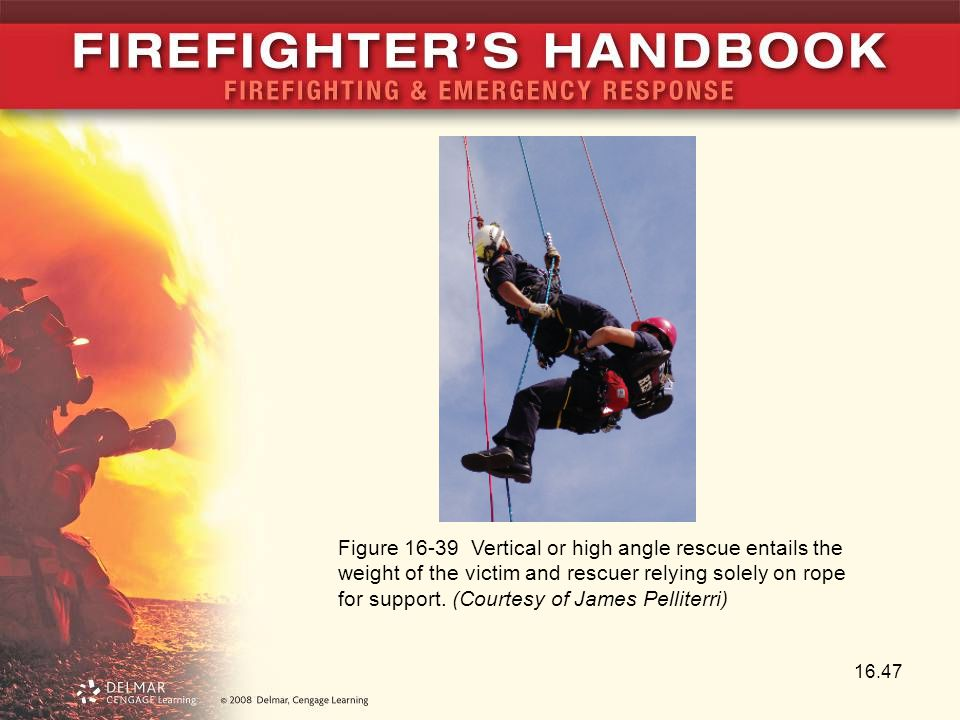 Figure 16-39 Vertical or high angle rescue entails the weight of the victim and rescuer relying solely on rope for support.