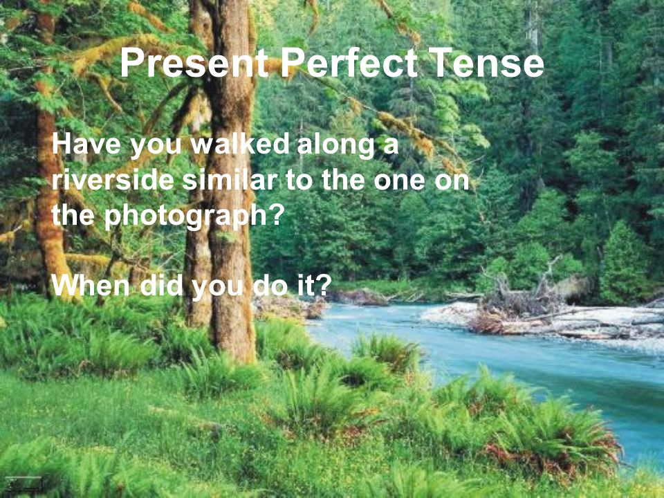 Present Perfect Tense Have you walked along a riverside similar to the one on the photograph.