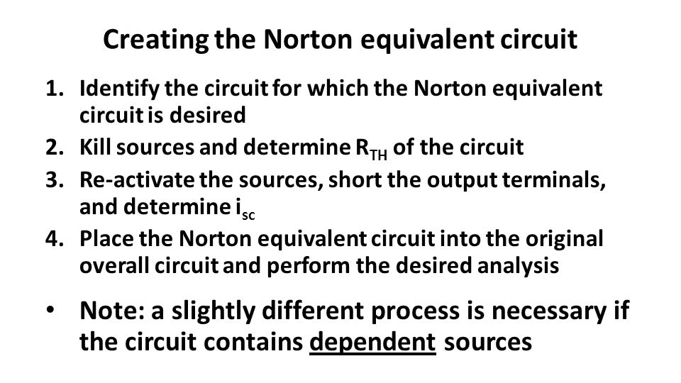 Creating the Norton equivalent circuit