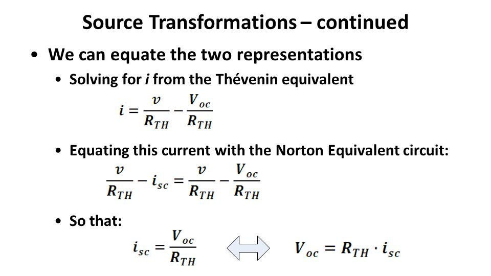 Source Transformations – continued