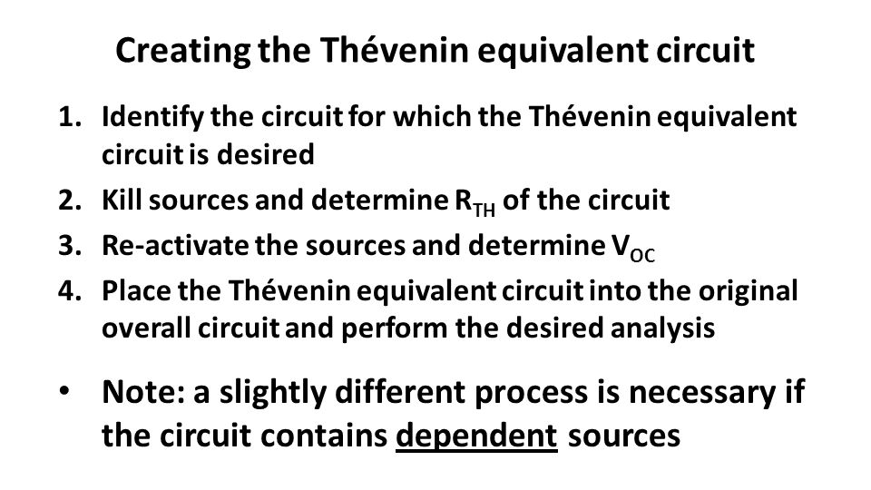 Creating the Thévenin equivalent circuit