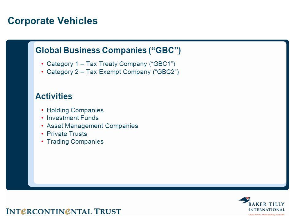 Corporate Vehicles Global Business Companies ( GBC ) Activities