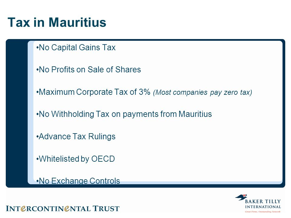 Tax in Mauritius No Capital Gains Tax No Profits on Sale of Shares