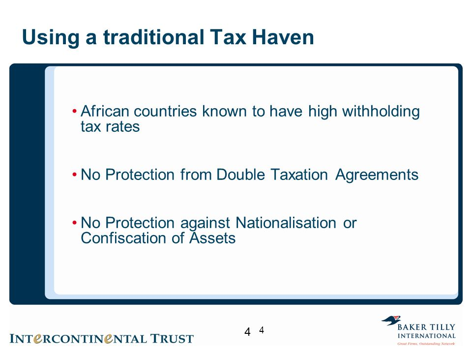 Using a traditional Tax Haven