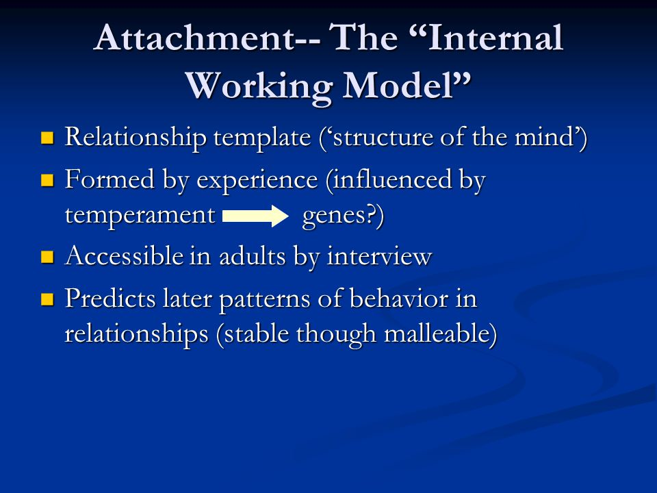Attachment-- The Internal Working Model