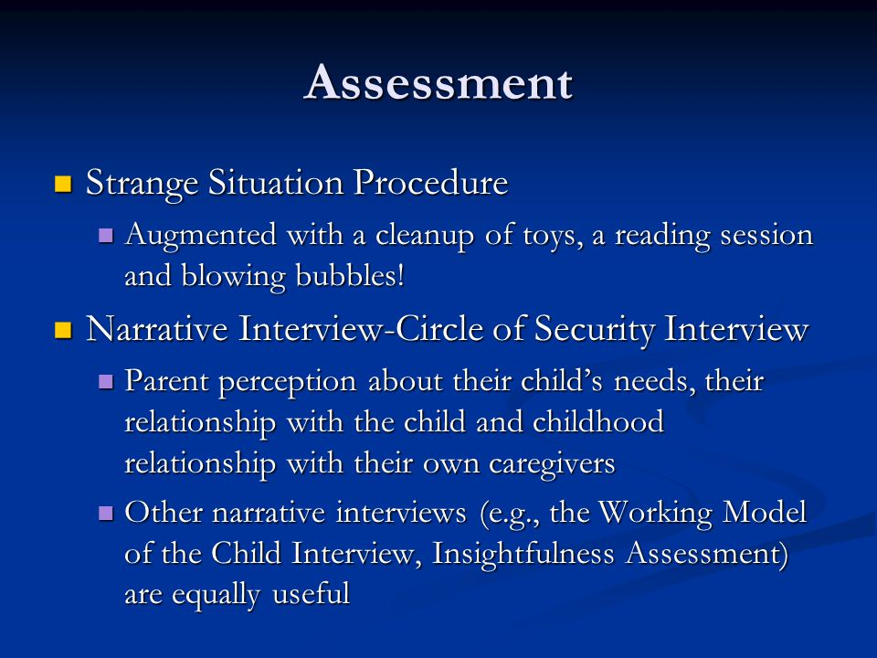 Assessment Strange Situation Procedure