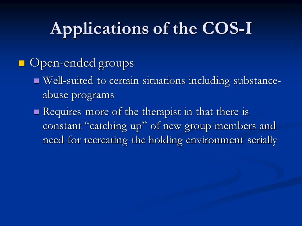 Applications of the COS-I