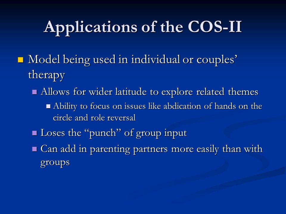 Applications of the COS-II