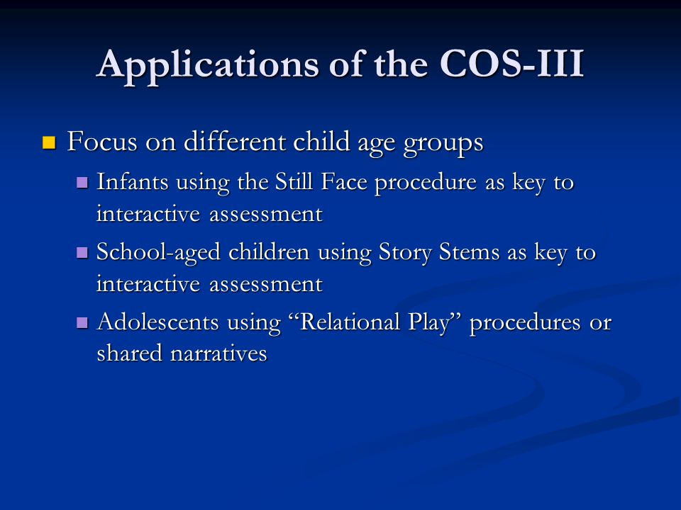 Applications of the COS-III