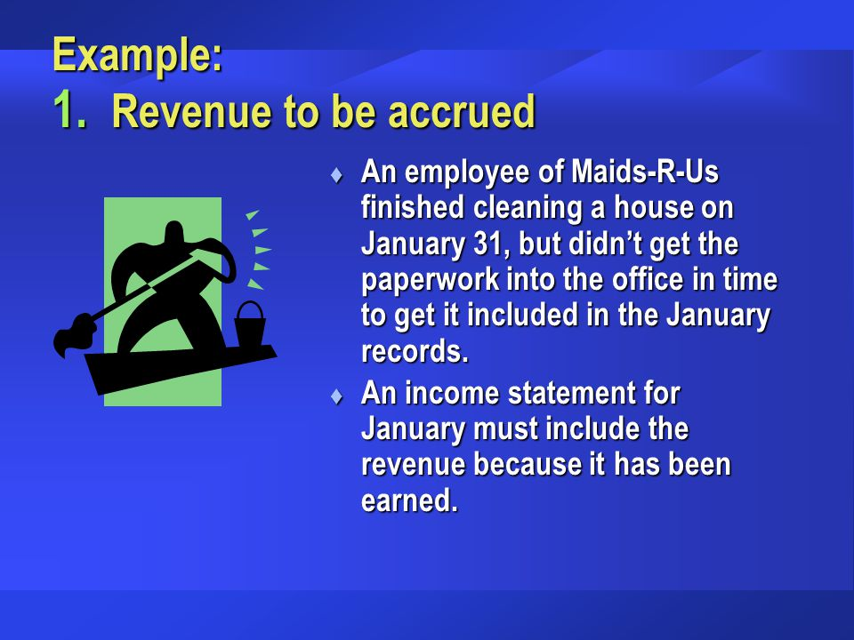 Example: 1. Revenue to be accrued