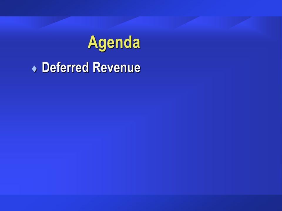 Agenda Deferred Revenue