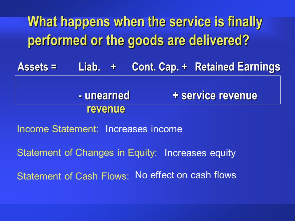 What happens when the service is finally performed or the goods are delivered
