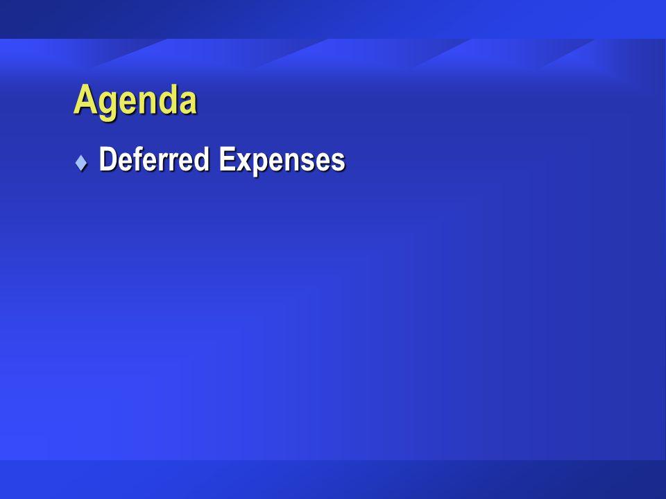 Agenda Deferred Expenses