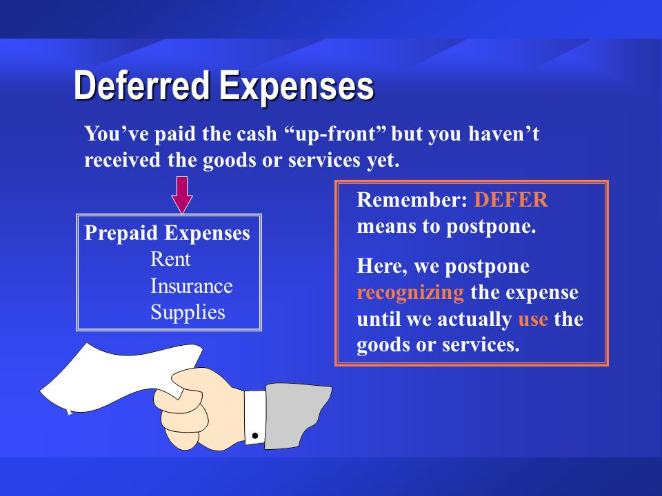 Deferred Expenses You've paid the cash up-front but you haven't