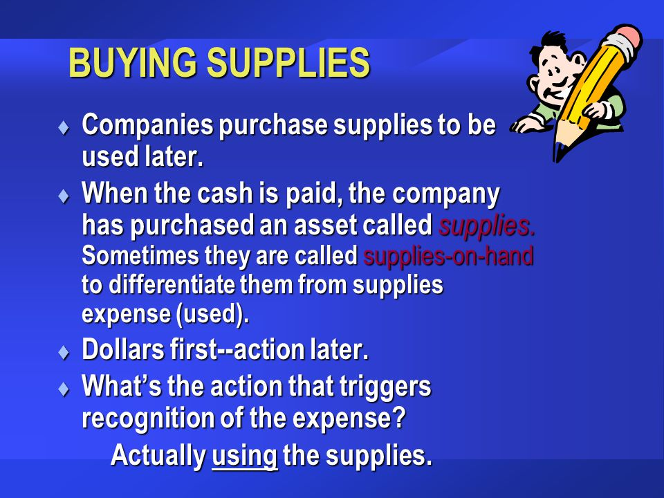 BUYING SUPPLIES Companies purchase supplies to be used later.