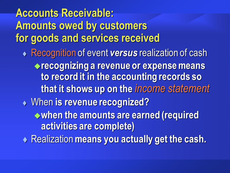 Accounts Receivable: Amounts owed by customers for goods and services received