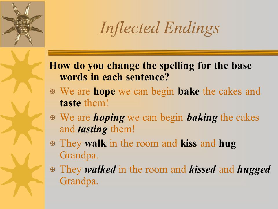 Inflected Endings How do you change the spelling for the base words in each sentence We are hope we can begin bake the cakes and taste them!