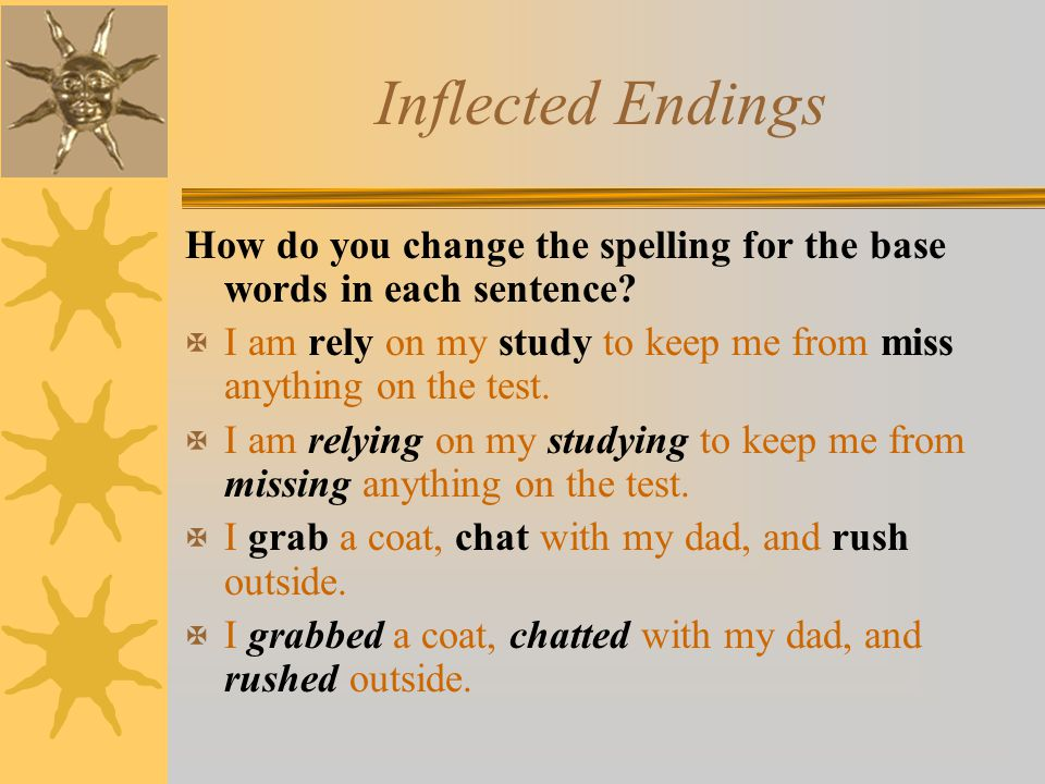 Inflected Endings How do you change the spelling for the base words in each sentence