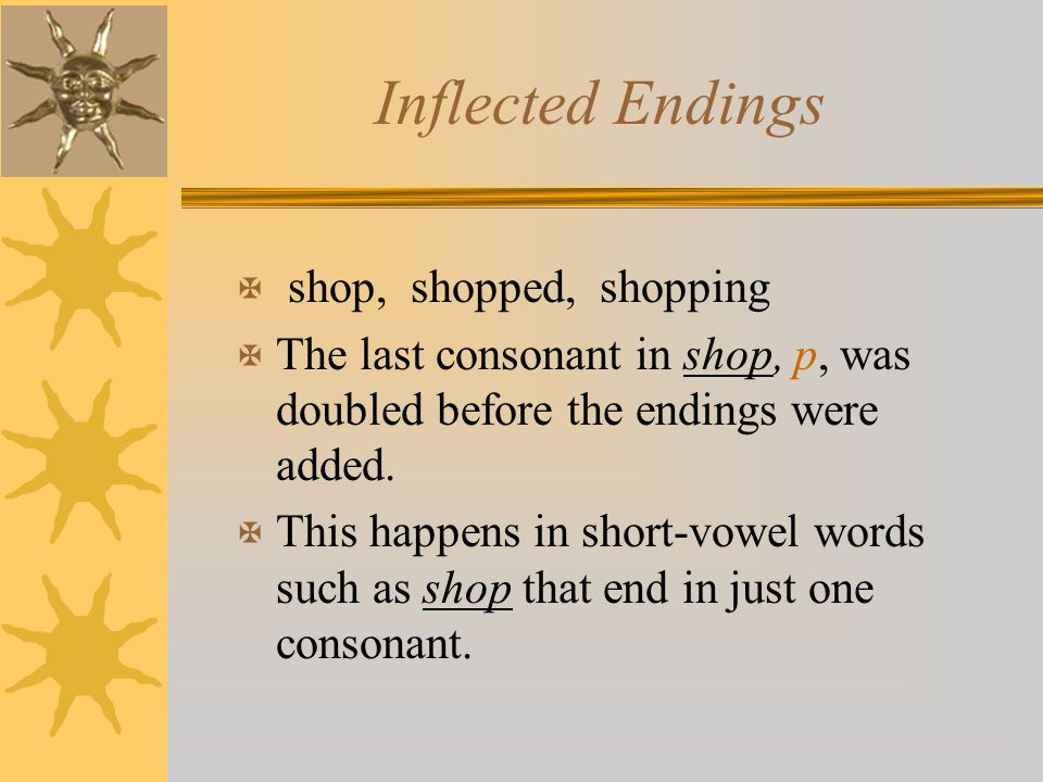 Inflected Endings shop, shopped, shopping