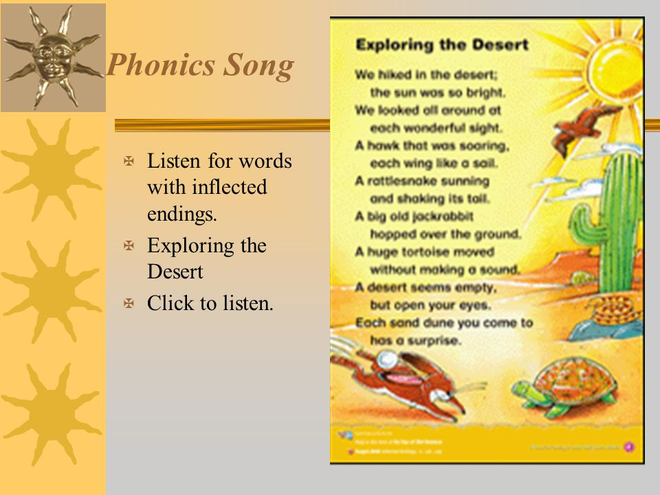 Phonics Song Listen for words with inflected endings.