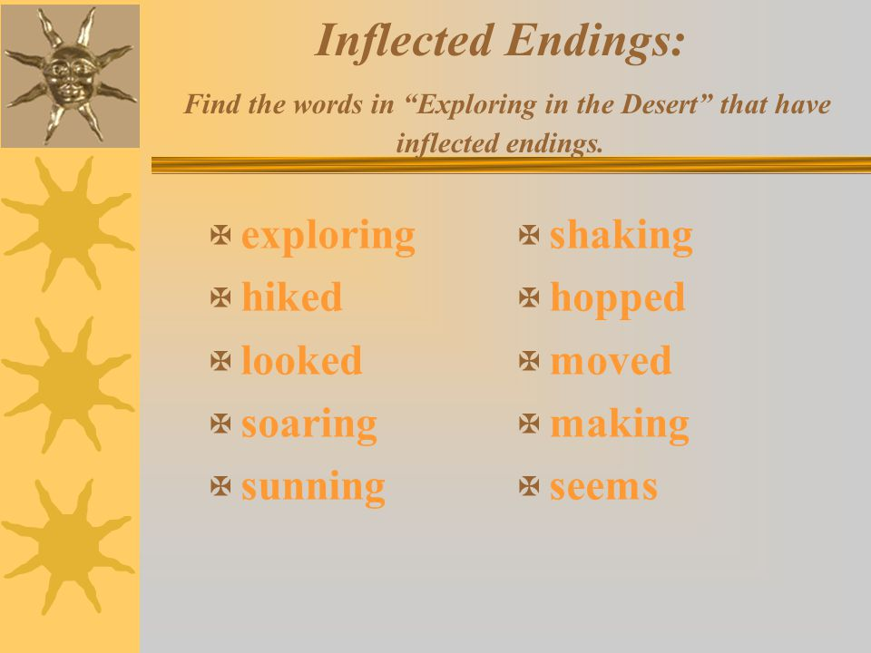 Inflected Endings: Find the words in Exploring in the Desert that have inflected endings.