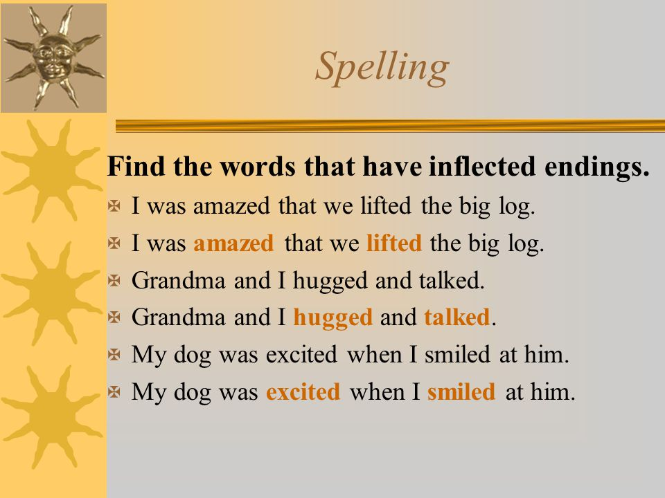 Spelling Find the words that have inflected endings.