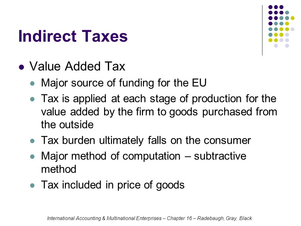 Indirect Taxes Value Added Tax Major source of funding for the EU