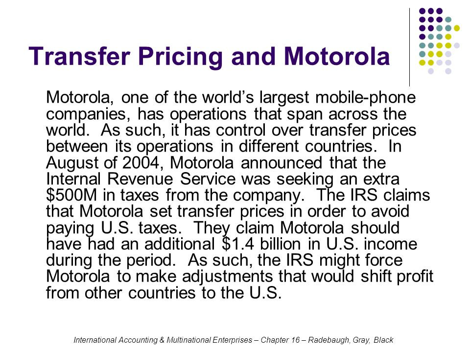 Transfer Pricing and Motorola