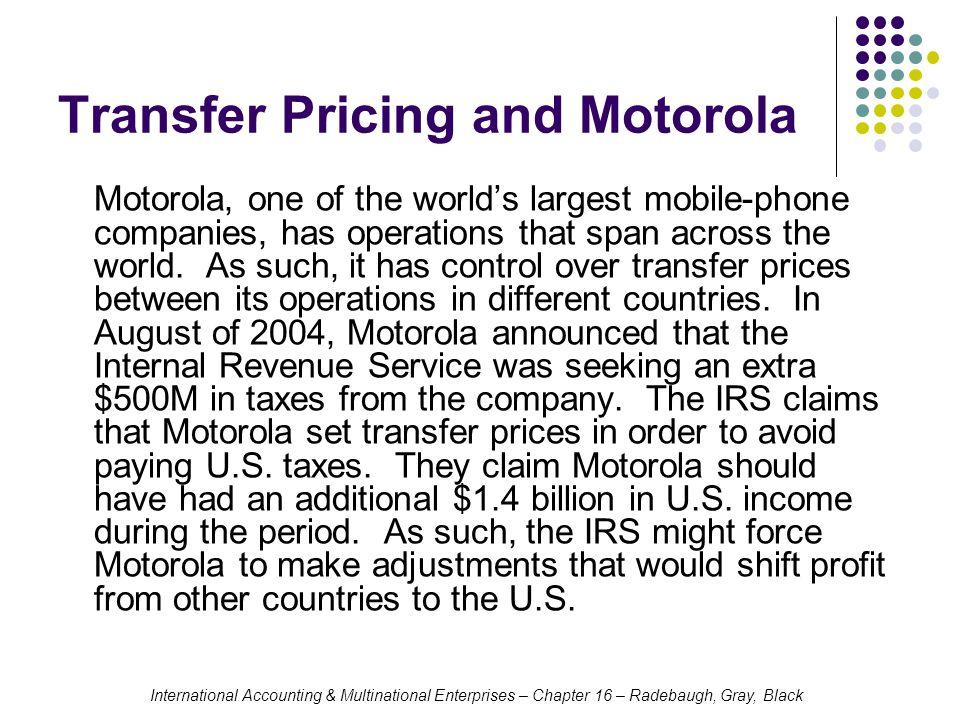Transfer Pricing and Motorola
