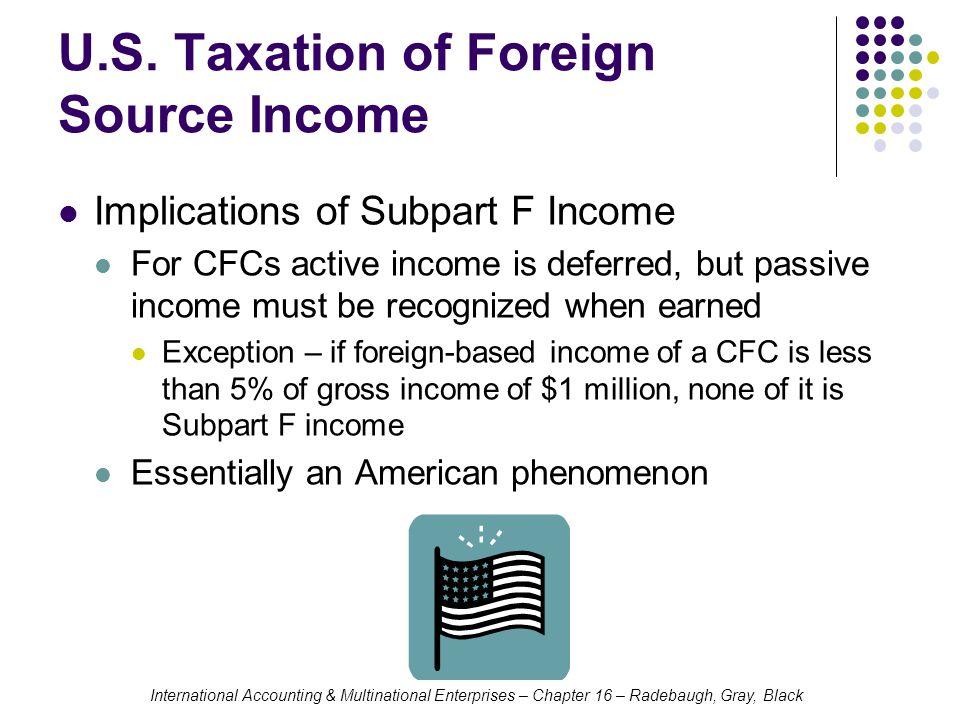 U.S. Taxation of Foreign Source Income