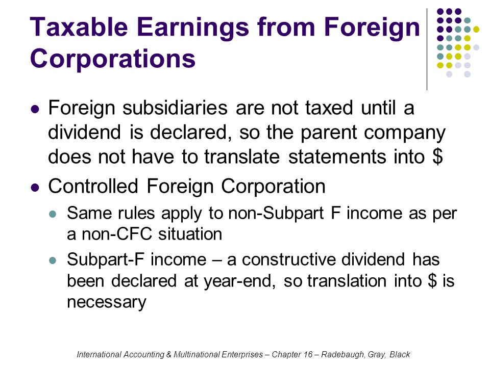 Taxable Earnings from Foreign Corporations