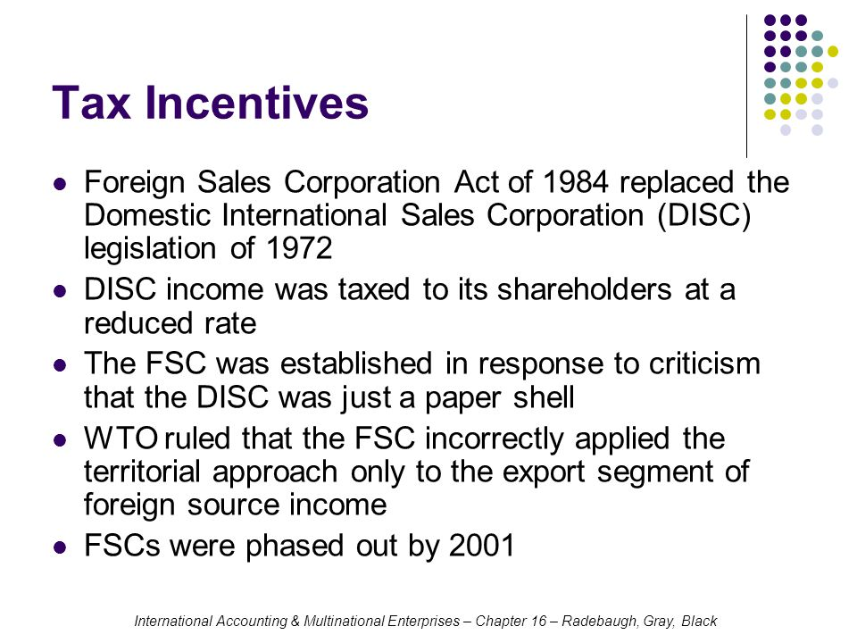 Tax Incentives Foreign Sales Corporation Act of 1984 replaced the Domestic International Sales Corporation (DISC) legislation of 1972.