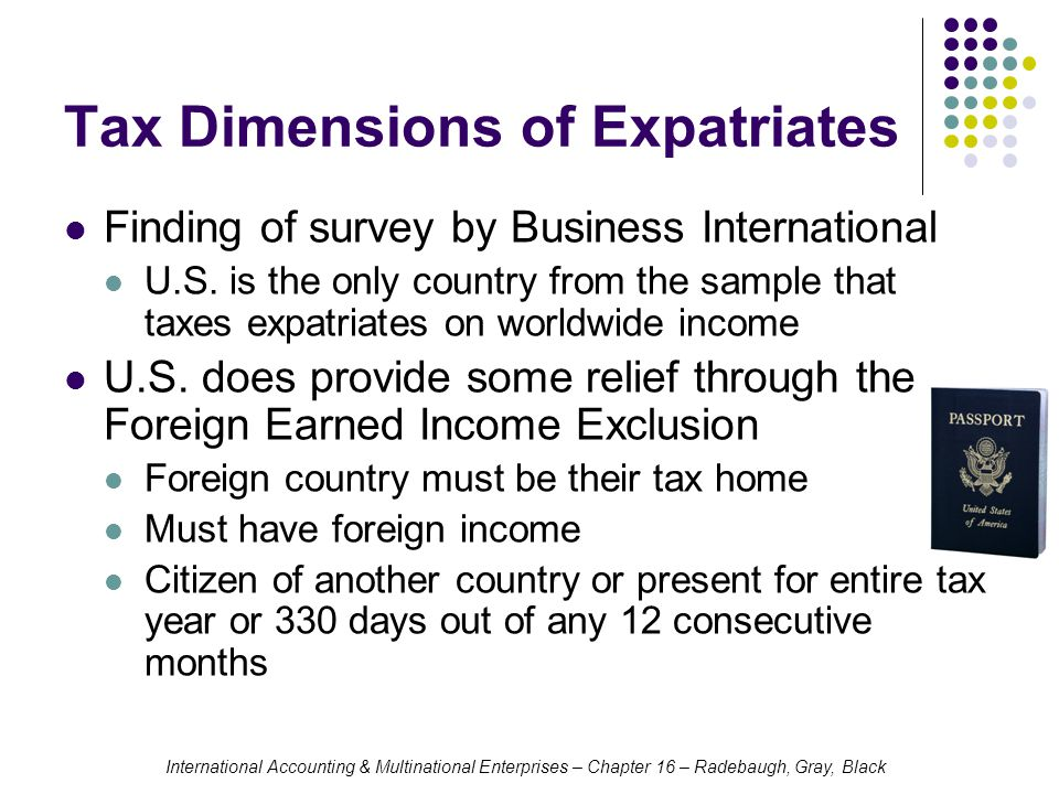 Tax Dimensions of Expatriates