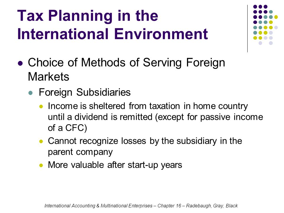 Tax Planning in the International Environment