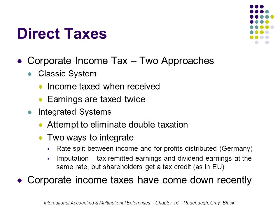 Direct Taxes Corporate Income Tax – Two Approaches
