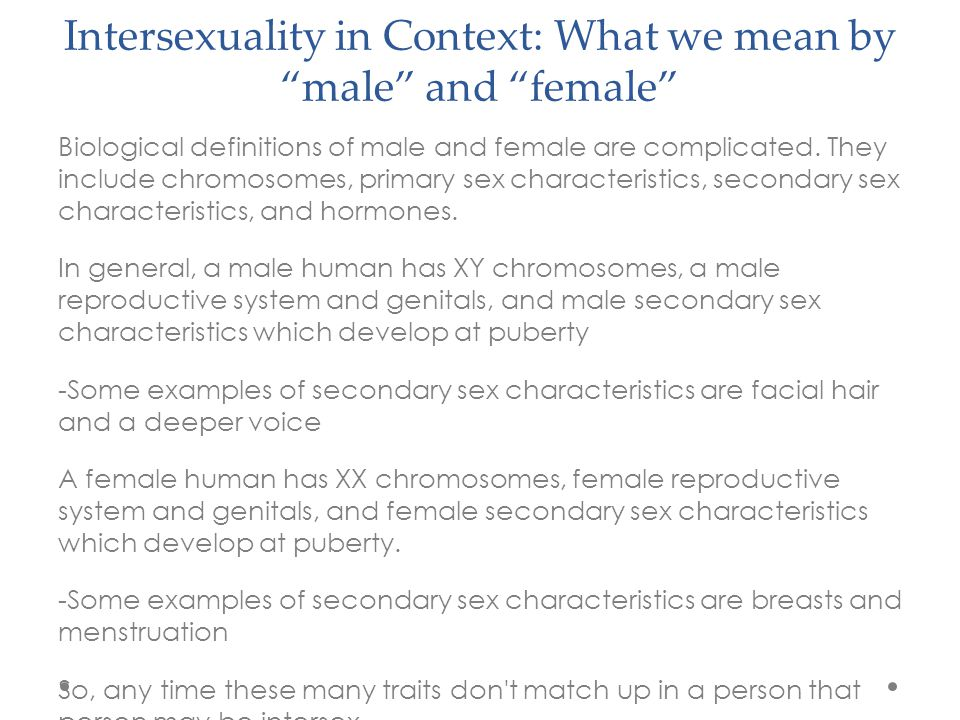 Intersexuality in Context: What we mean by male and female