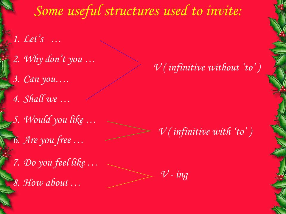 Some useful structures used to invite: