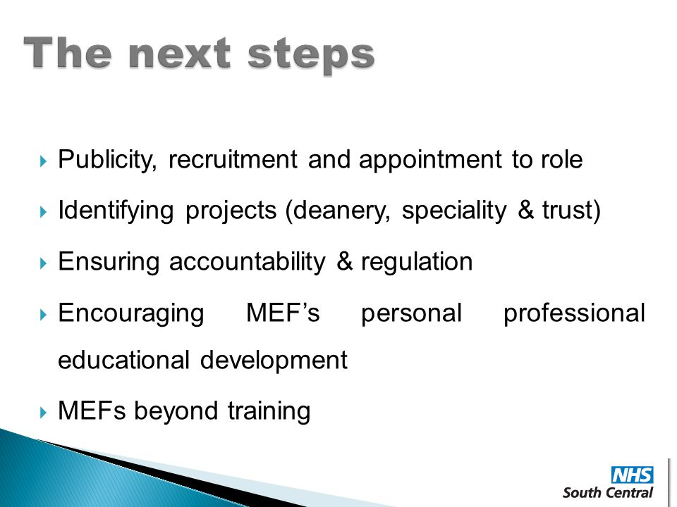 The next steps Publicity, recruitment and appointment to role