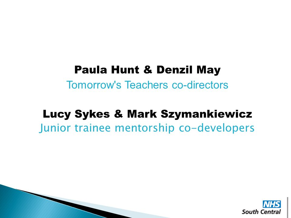 Tomorrow s Teachers co-directors Lucy Sykes & Mark Szymankiewicz