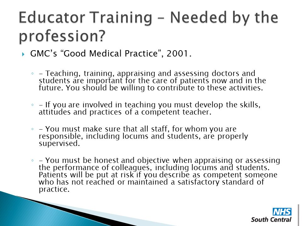 Educator Training – Needed by the profession