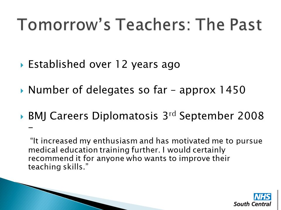 Tomorrow's Teachers: The Past