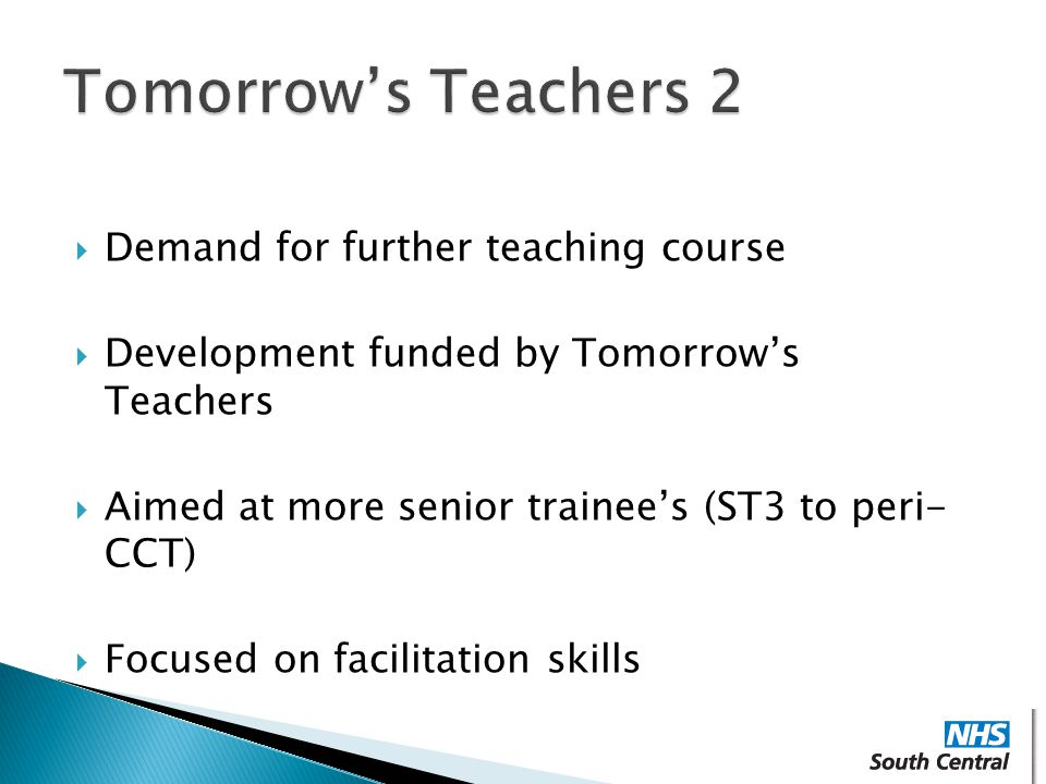 Tomorrow's Teachers 2 Demand for further teaching course
