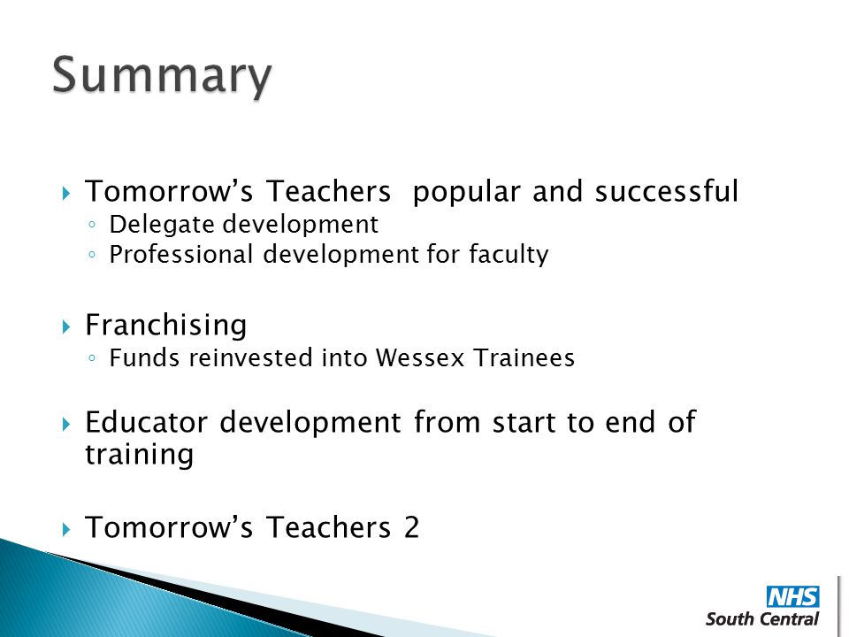 Summary Tomorrow's Teachers popular and successful Franchising